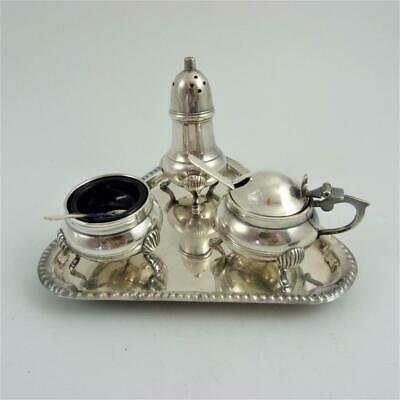 Vintage Silver Plated Cruet Condiment Set On Triangular Tray