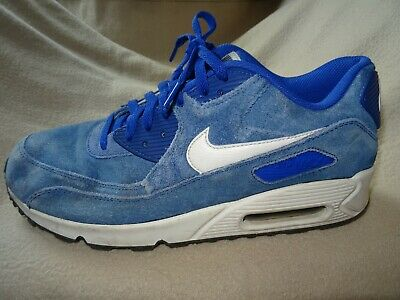huge selection of 56414 16eac Nike Air Max 90 Essential Blue Suede Trainers Size 9.5 Uk 44.5 Euro B45