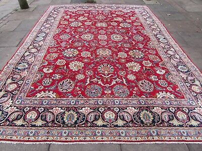 Antique Traditional Hand Made Persian Oriental Wool Red Large Carpet 386x277cm