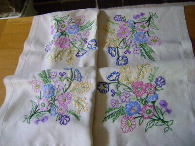 Stunning Vintage Tablecloth Heavily Hand Embroidered Flowers, Beige Linen