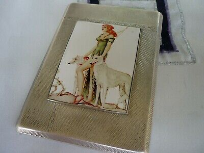 Cigarette case 925 solid silver with enamel