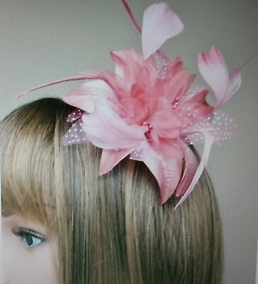 Dusky Pink Flower And Feather Fascinator On A Clear Comb.