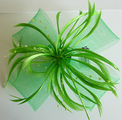 Bright Green Looped Net & Feather Fascinator On A Forked Clip & Brooch Pin.