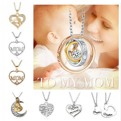 Mum Gold Crystal Necklace & Pendant NEW* Birthday Christmas Mothers Day Gift BIG