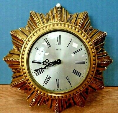 Vintage Small Smiths Sunburst 8 Day Floating Balance Wall Clock - Spares/Repair