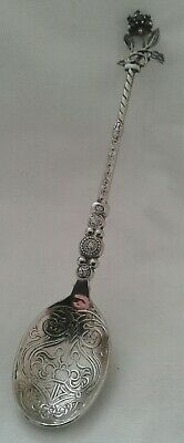 Plated Metal Coronation Anointing Spoon With Stone Set Rose Finial.