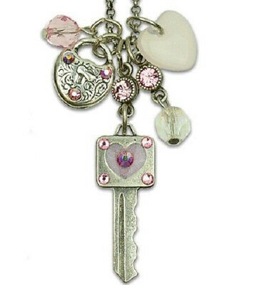 New Anne Koplik Key To My Heart Crystal Jumble Charm Necklace ~~Usa Made~~