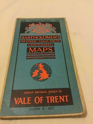 Old Bartholomews Map 24 Vale Of Trent