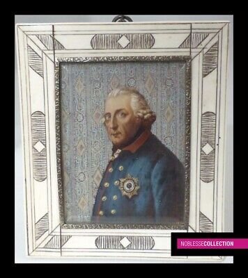 """ANTIQUE FRENCH MINIATURE PAINTING WATERCOLOR 19th C. """"Frederick II of Prussia"""""""