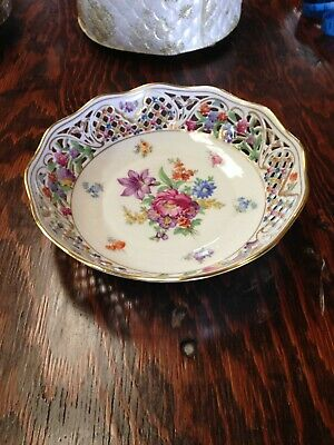 Antique Reticulated floral Round Bowl  Chateau Dresden by SCHUMANN - BAVARIA