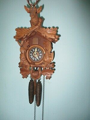 Vintage Small Black Forest Hunters Cuckoo Clock Working