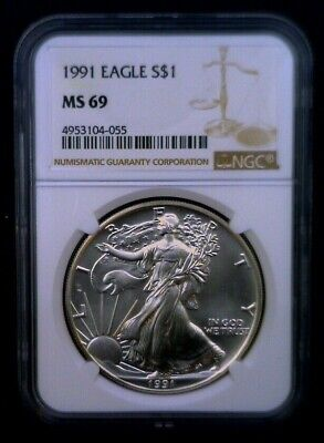 1991 American Silver Eagle NGC MS 69 Brown Label 1 oz .999 Fine 018