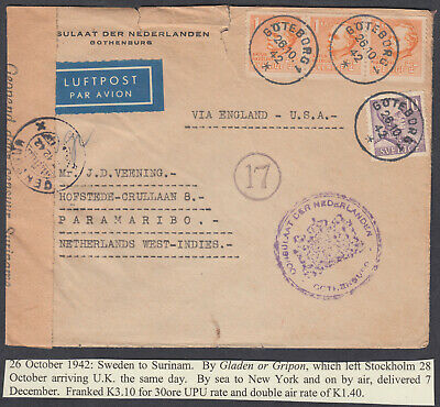 Sweden to Surinam, Sea to New York, onwards by Airmail; Censor; 1942
