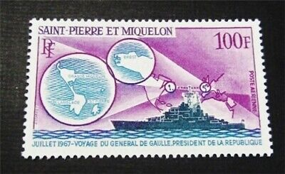 nystamps French St. Pierre & Miquelon Stamp # C36 Mint OG H $45