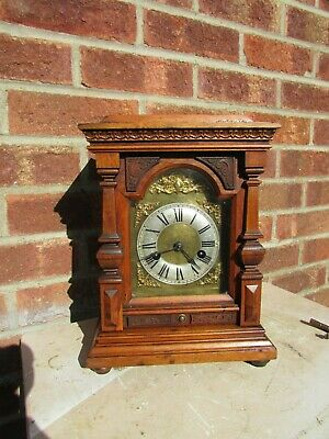 German 14 Day Oak Striking Mantle Clock C1900