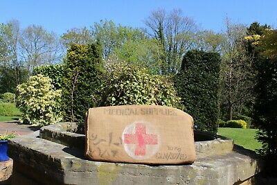 vintage WW2 army medical supplies,hessian sack upcycled bench pillow,cushion,pad
