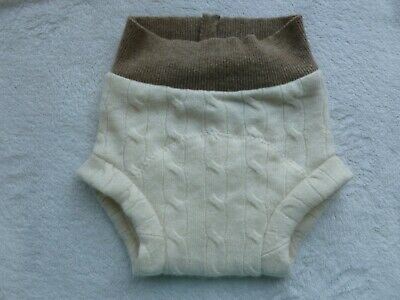 wool diaper cover soaker shorts shortie shorties beige cream ivory M dyeable