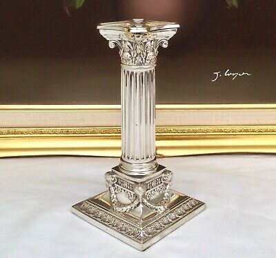 "7"" Victorian Silver Plated Corynthian Column Candlestick Martin Hall & Co C1854"