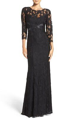 NEW ADRIANNA PAPELL Black Sheer Illusion Lace 3/4 Sleeve Beaded Gown Dress 16 US