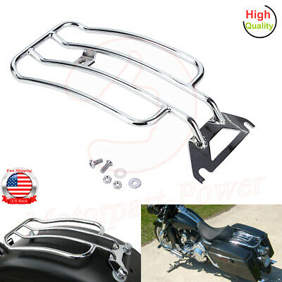 TCMT Chrome Solo Seat Luggage Rack Fits For Harley Davidson Touring Road King FLHR 1997-05