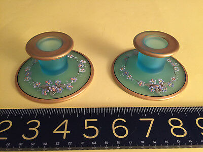 ANTIQUE Hand Painted BLUE GLASS Dressing Table Vanity CANDLESTICKS SET