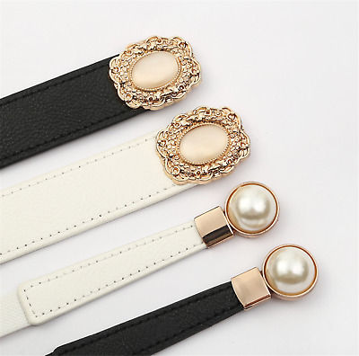 Women Gemstone Pearl Retro Elastic Stretchy Dress Narrow Slim Waist Belt Band