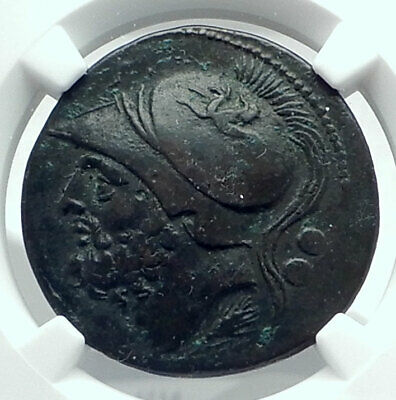 BRETTII in BRUTTIUM Authentic Ancient 214BC Greek Coin ARES NIKE NGC i77622