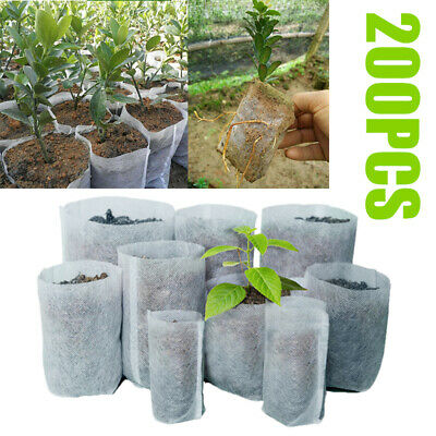 200PCS Biodegradable Non-Woven Nursery Bags Plant Grow Bags Seedling Pots Set