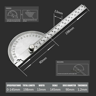 0-180° Stainless Steel Protractor Angle Meter Ruler For Construction Woodwork