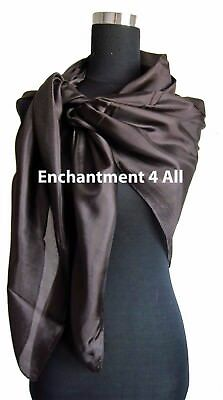 """New Extra Large Square 42""""x42"""" Luxurious 100% Pure Silk Scarf Shawl, Brown"""