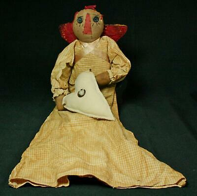 Artist-Made Primitive Grungy Cloth Angel Doll With Heart