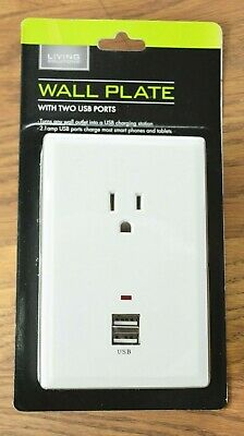 WALL PLATE with 1 OUTLET and 2 USB PORTS, WHITE -- BRAND NEW