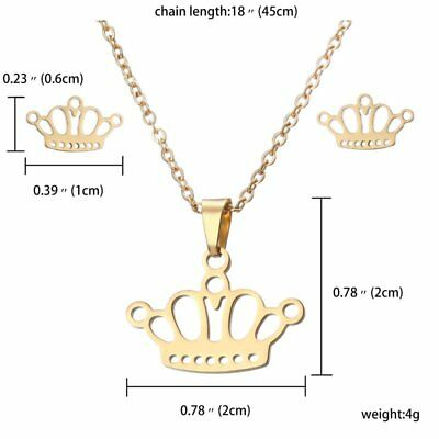 Fashion Stainless Steel Crown Pendant Necklace Chain Earrings Set Lady Jewelry