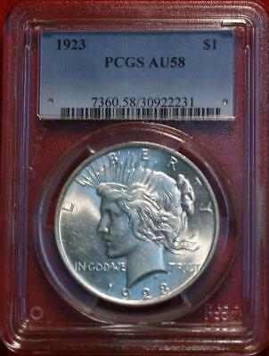 1923 Philadelphia Mint Silver Peace Dollar PCGS Graded AU58