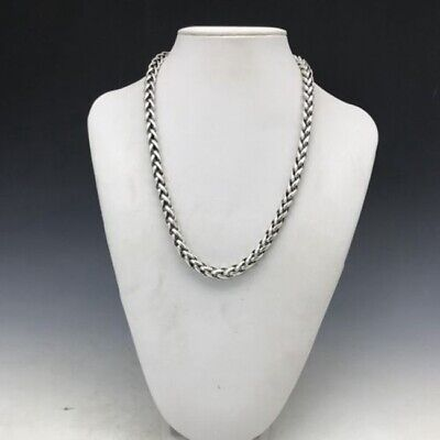 Chinese antique Tibetan silver necklace is purely hand-carved exquisite necklace