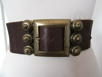 Vintage 80'S Wide Elastic Cinch Belt Brown Leather Ends Chunky Aged Brass Buckle