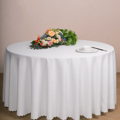 "84"" Plastic Table Cloth Round Cover For Wedding Party Birthday Tablecovers White"