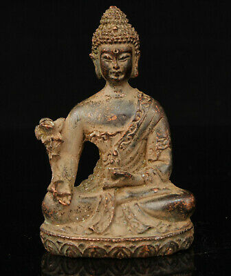 China Old Collectible Hand-carved Red Copper Buddha Statue Desktop Ornament