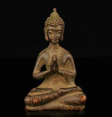 China Old Hand-carved Retro Bronze Za-zen Buddha Statue Home Decoration
