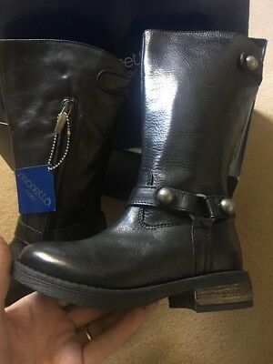 Little Girls Simonetta Knee High Black  Boots Size 27 Uk 9
