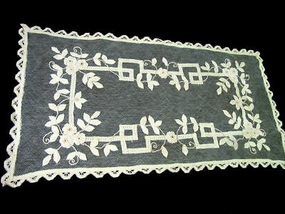 "Antique 35"" Table Runner Dresser Scarf Net Lace Appliqued Ribbon,Tape Cordonet"