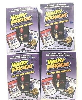 2018 Topps Wacky Packages Go To The Movies Blaster Box ( 4 Box Lot )
