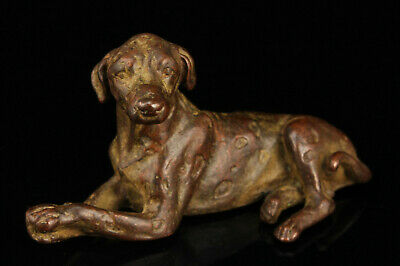 China Collectible Hand-carved Red Copper Dog Statue Desktop Ornament
