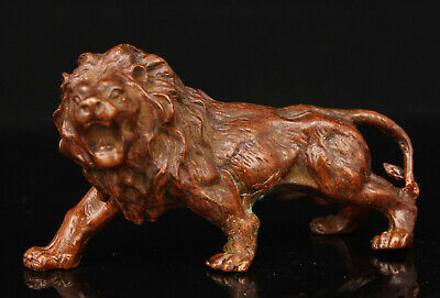 China Hand-carved Retro Pure Red Copper Lion King Desktop Decoration