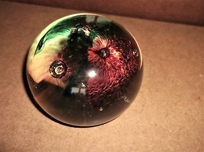 Heavy Glass Paperweight Controlled Bubbles & Large Flower Cheryl Dunsmore Signed