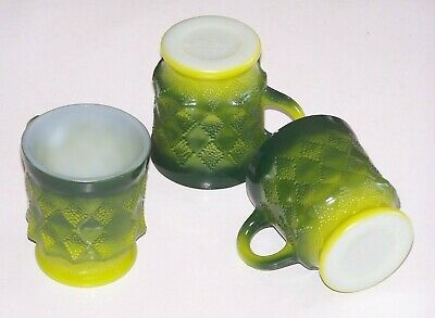 3 Vintage Anchor Hocking Fire King Green Kimberly Diamond Pattern Coffee Cup Mug
