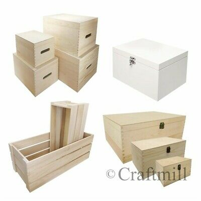 Plain Wood Wooden Toy Storage, Hamper, Christmas Eve Boxes - choose size & style
