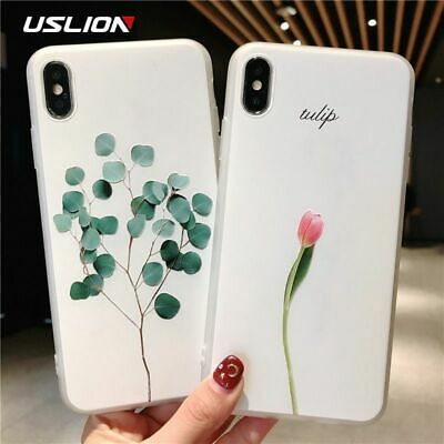 Green Leaves 3D Case For iPhone Xs XR XS Max X Relief Flower Leaf Phone Silicon