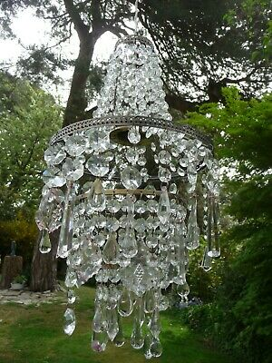 Vintage 3 Tier French Style Eclectic Glass Crystal Chandelier Light Shade