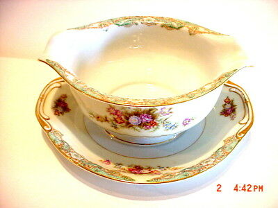 Spoto China Made In Occupied Japan Fine China Gravy Boat W/ Underplate Attached